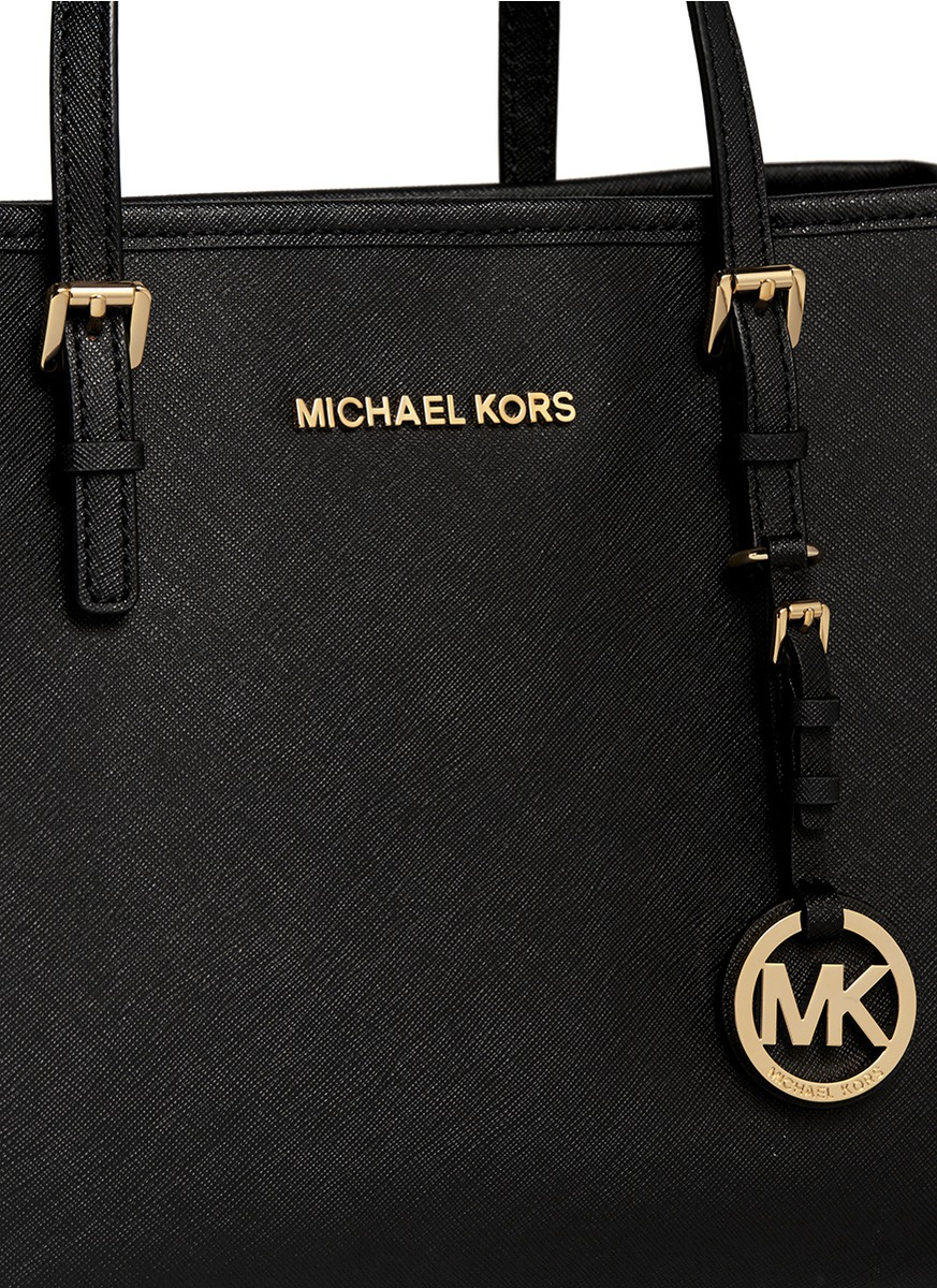 501fdb3945db ... cheap lyst michael kors jet set travel medium saffiano leather tote in  e023a 51d86