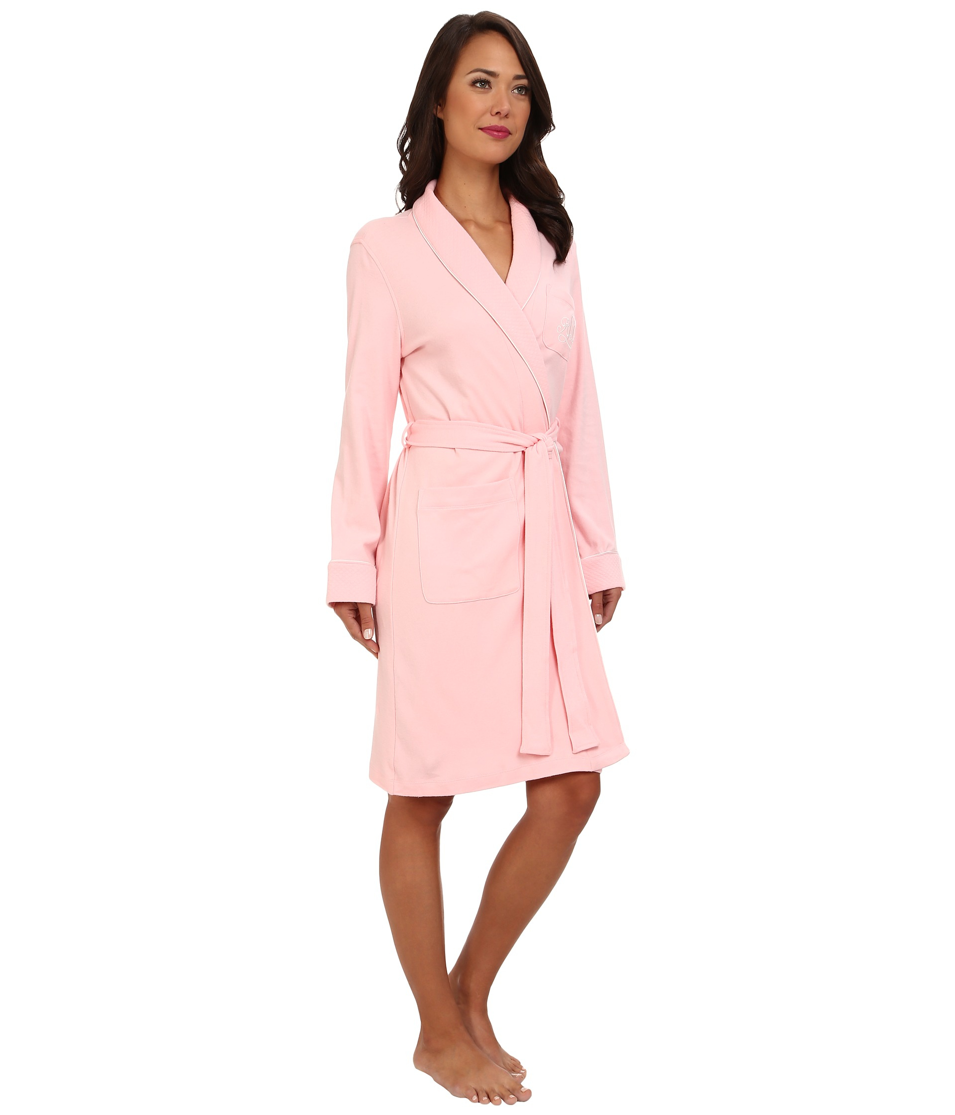 lyst lauren by ralph lauren essentials quilted collar and cuff robe in pink. Black Bedroom Furniture Sets. Home Design Ideas