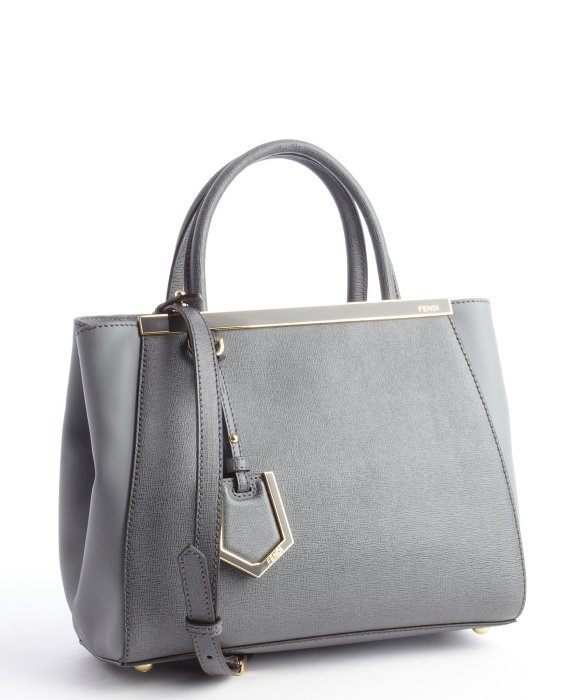 Lyst Fendi Grey Leather 2jours Pee Convertible Top Handle Bag In Gray