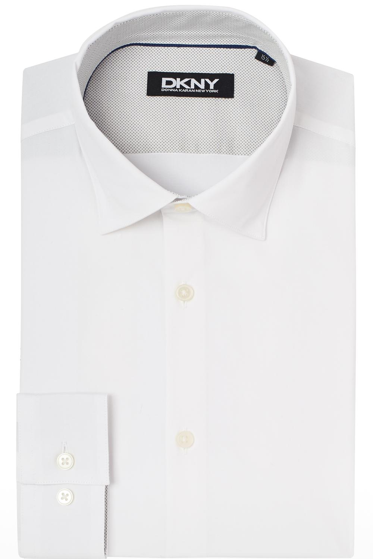 Dkny slim fit white single cuff under button collar shirt for Single cuff dress shirt