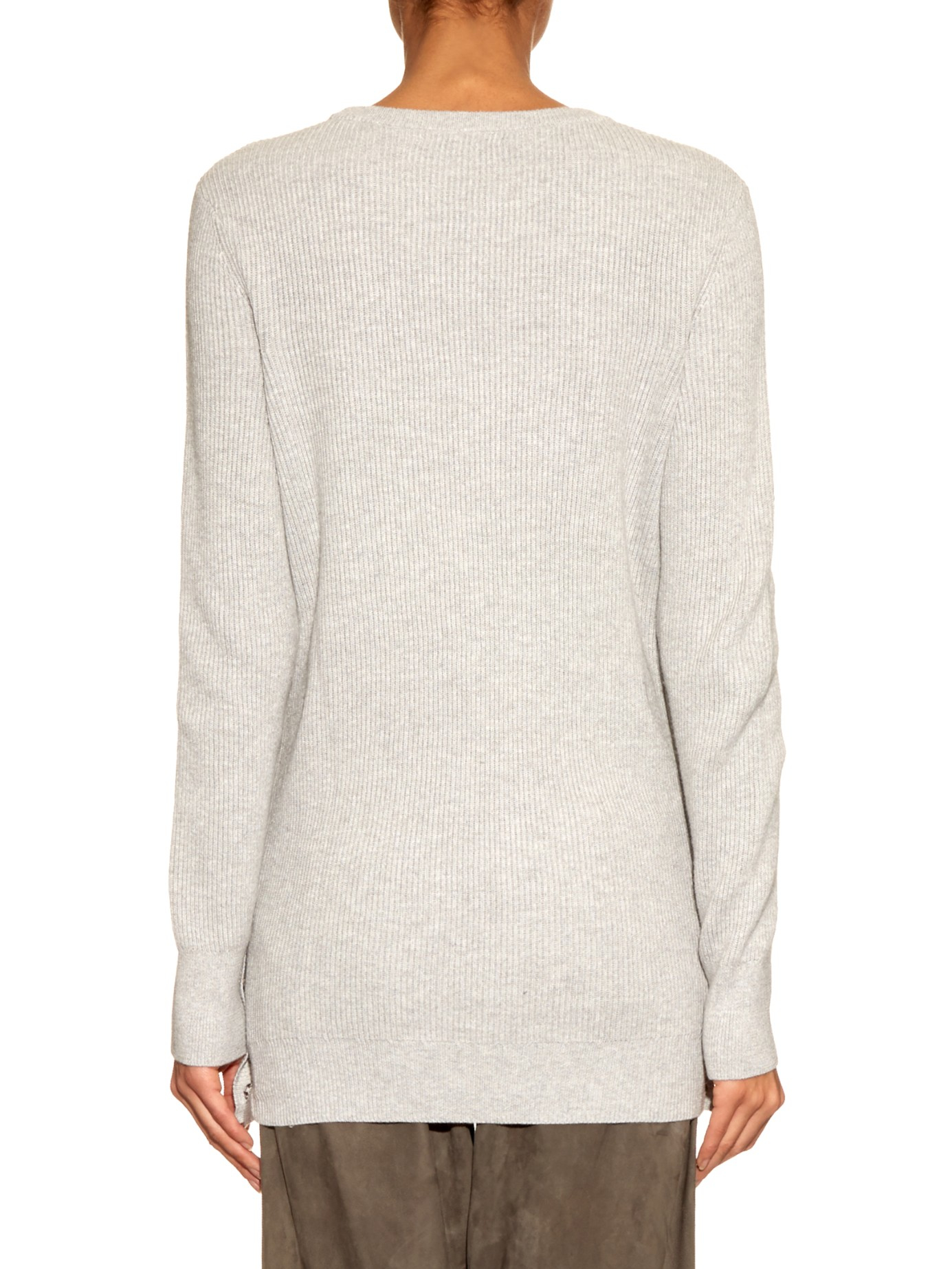 Equipment Rei Cashmere And Cotton-blend Sweater in Gray | Lyst