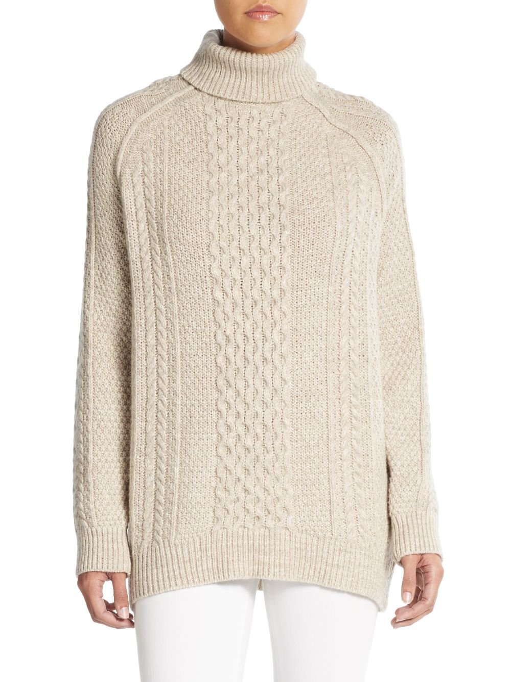 a55cd078230e Lyst - Vince Cable-knit Turtleneck Sweater in Natural