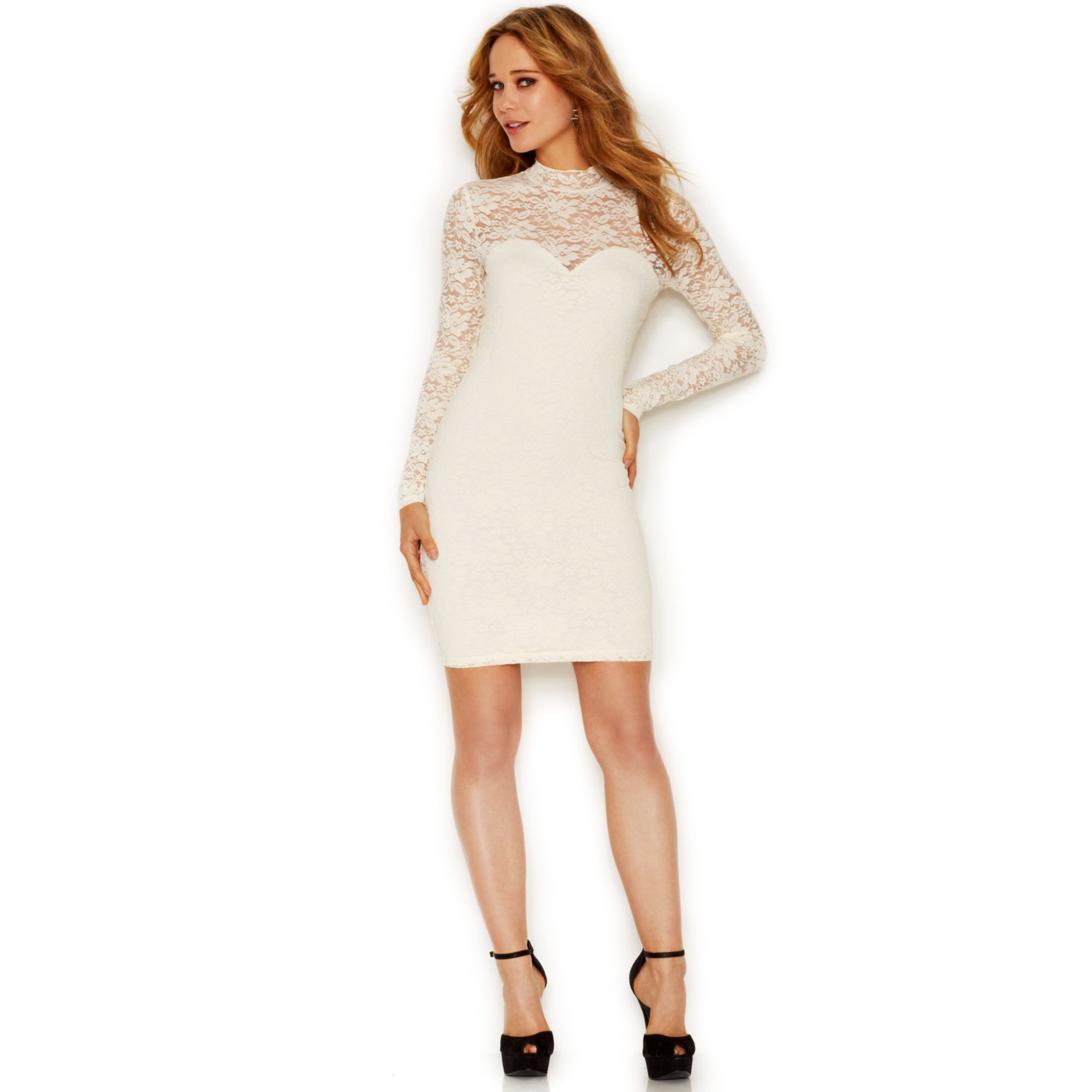 Turmec » guess long sleeve flare dress with embellished neckline 9f7c5a75e