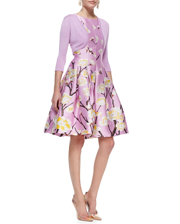 oscar de la renta sleeveless seamed aline floral dress. Black Bedroom Furniture Sets. Home Design Ideas