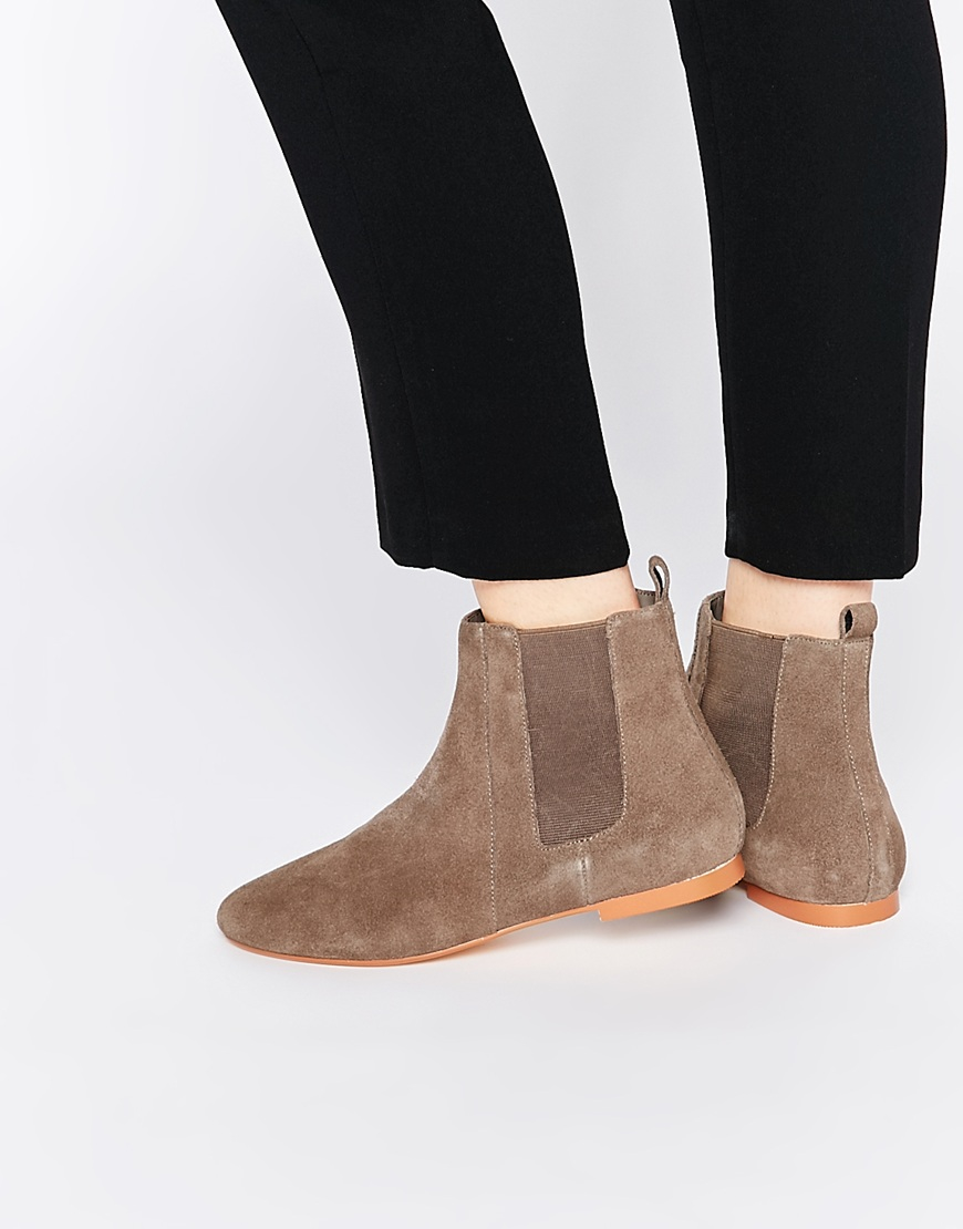 Faith Smith Taupe Suede Leather Ankle Boots in Natural | Lyst