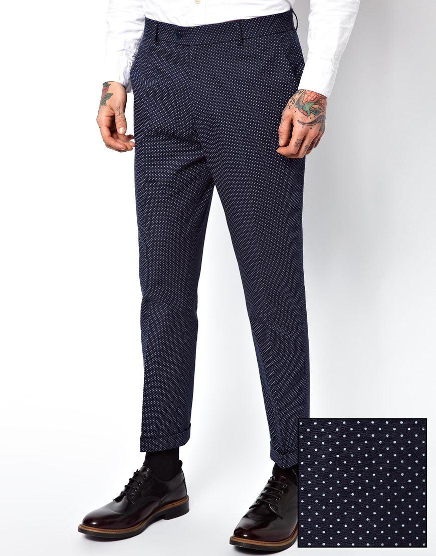 Asos Slim Fit Ankle Grazer Trouser In Blue For Men (Navy) | Lyst