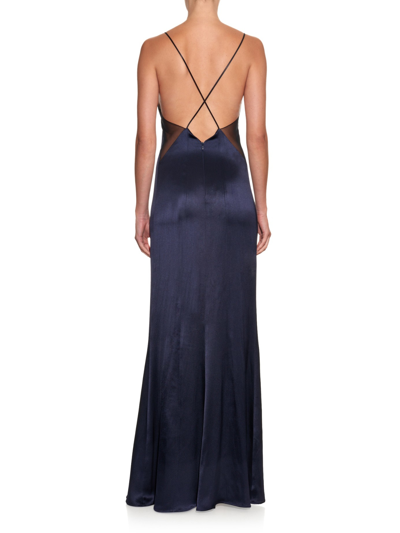 Lyst - Galvan London Mesh-panel Open-back Gown in Blue