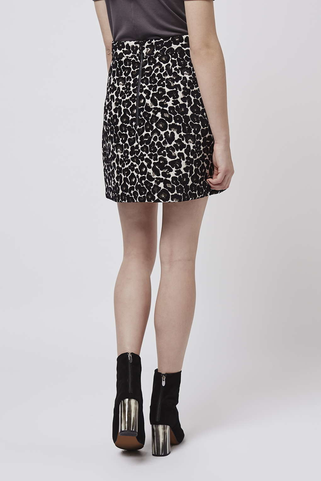 topshop animal a line skirt in black lyst