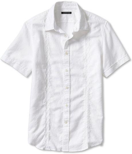 Banana Republic Slim Fit Embroidered White Linen Cotton