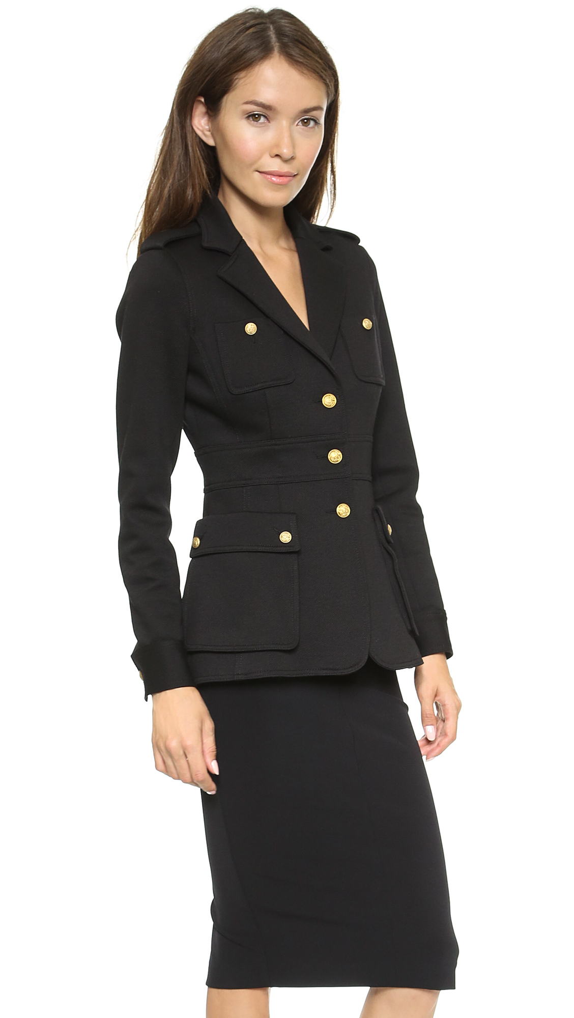 Smythe officers jacket black in black lyst for Smythe designer
