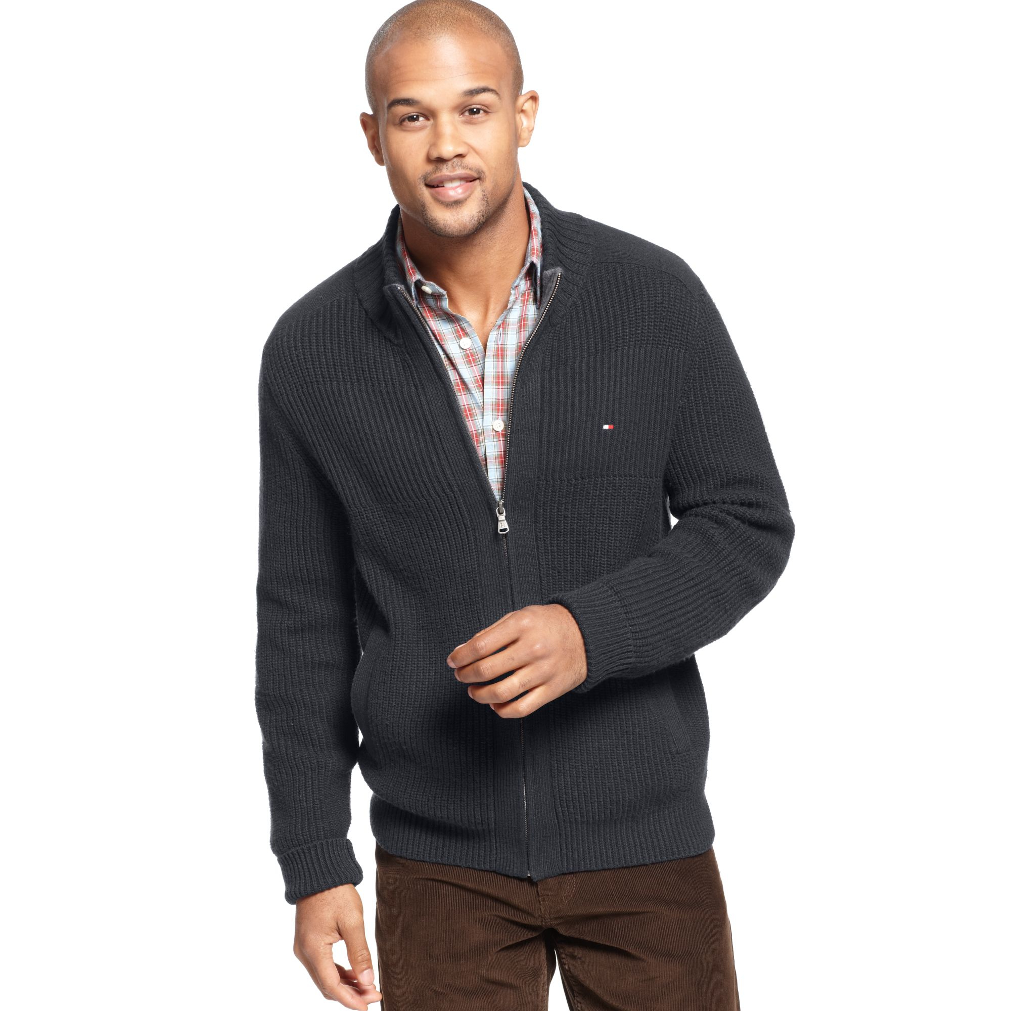 Tommy hilfiger Porter Full Zip Sweater in Gray for Men | Lyst