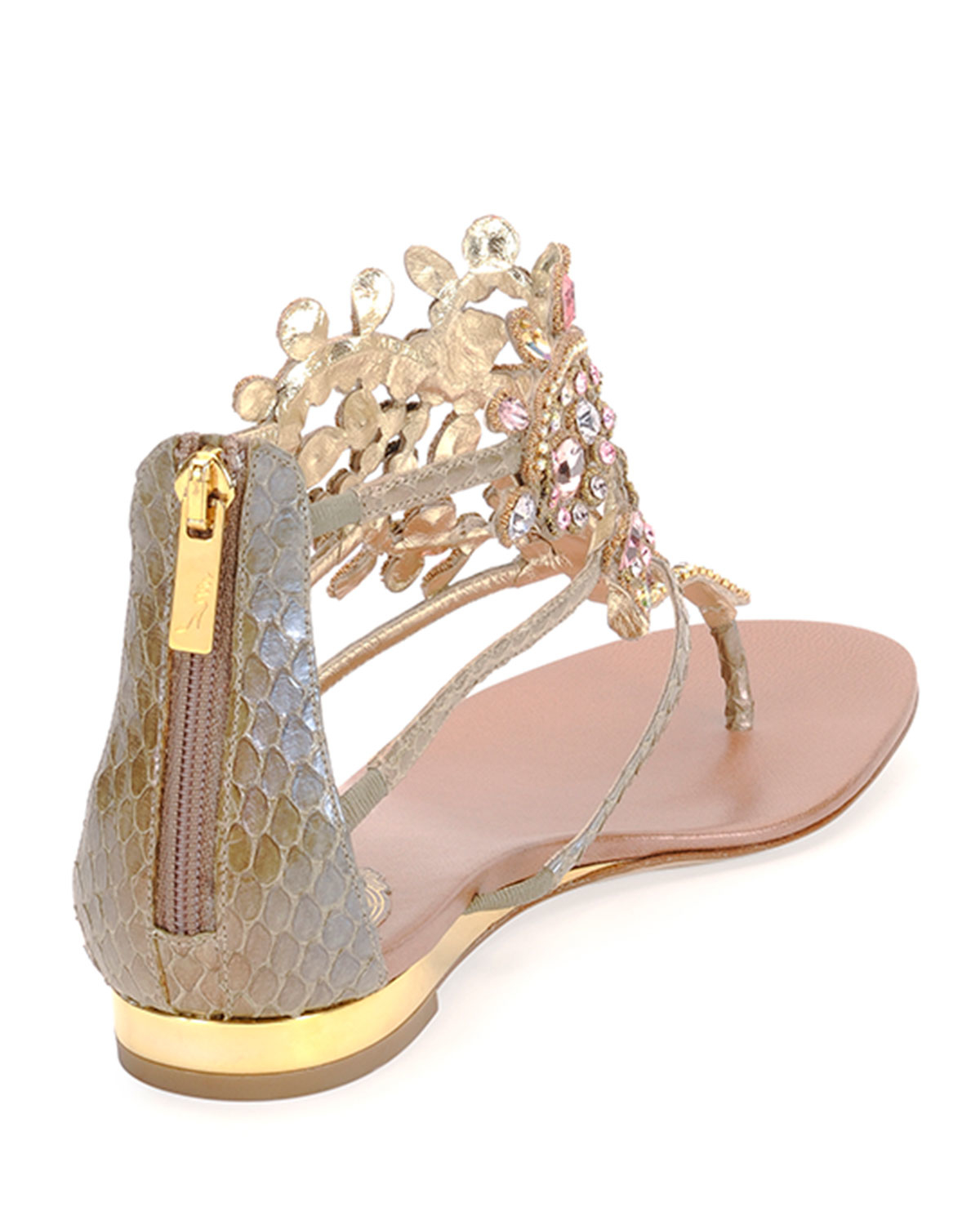85a0e4f32a1965 Lyst - Rene Caovilla Crystal-Chandelier Leather Thong Sandals in Natural