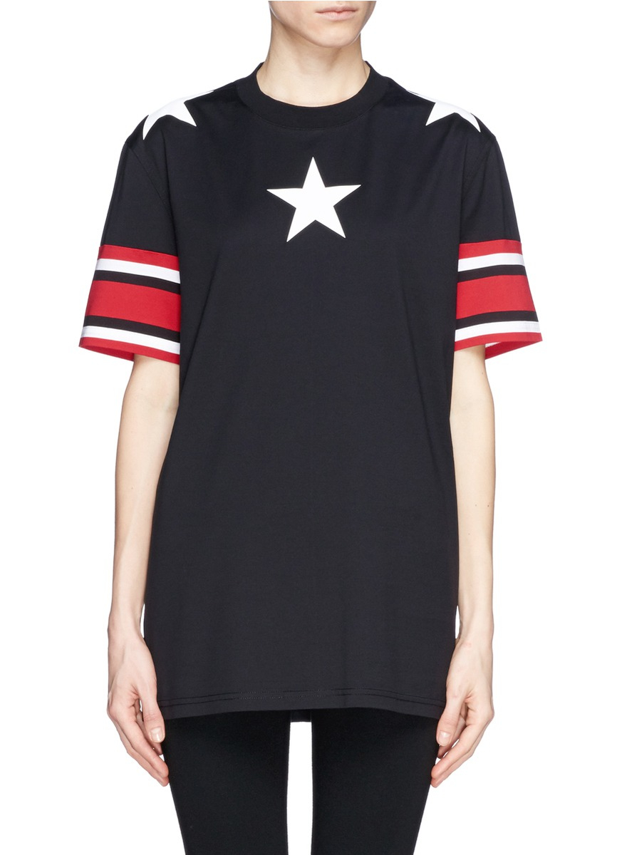 Givenchy star and stripe print t shirt in black lyst for Givenchy star t shirt