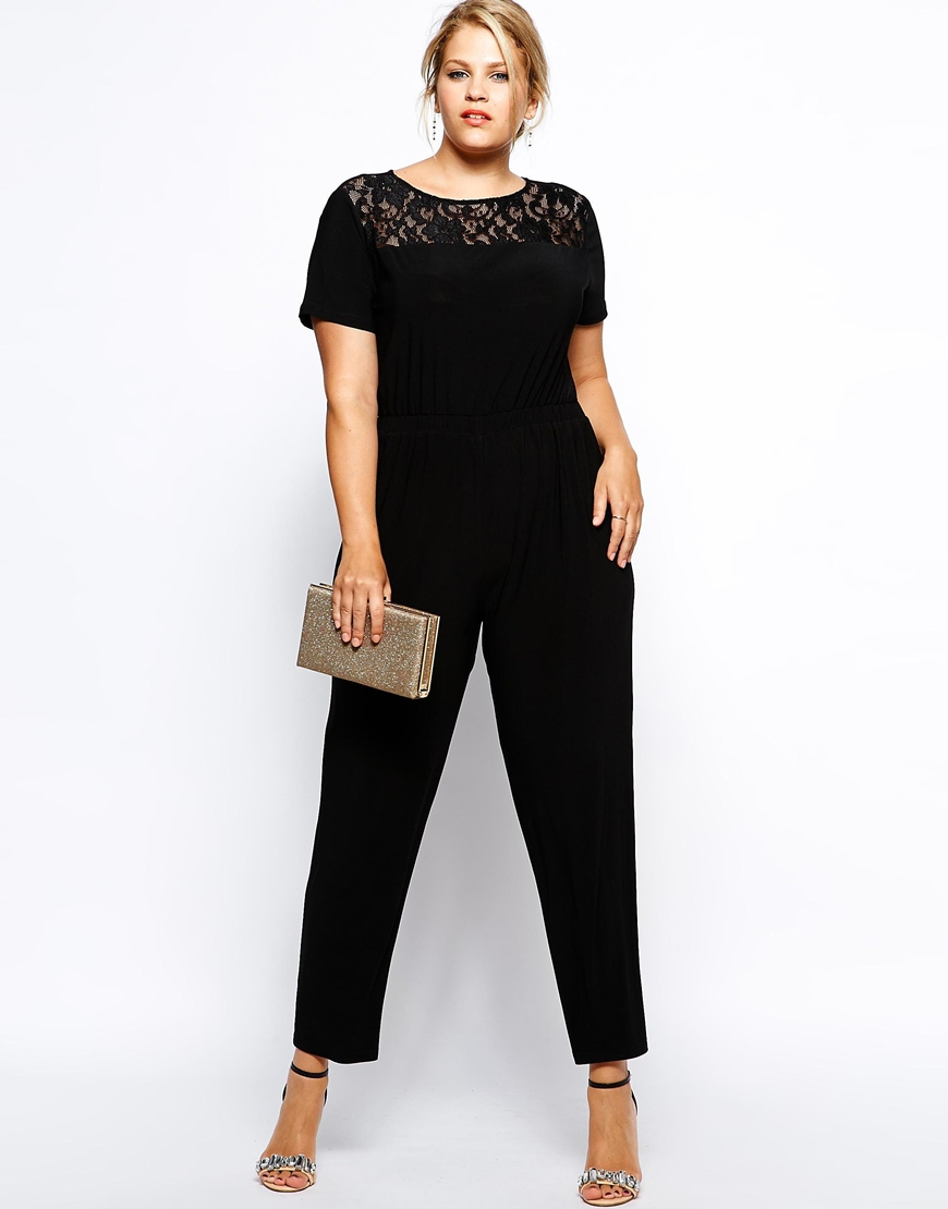 ax paris plus size lace top jumpsuit in black | lyst