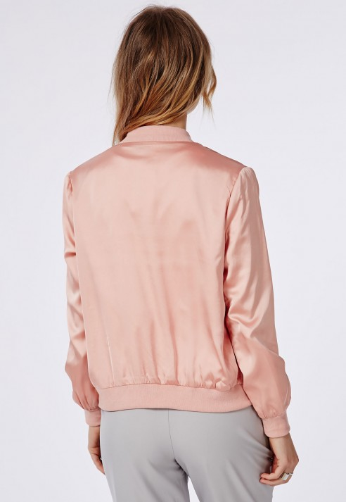Missguided Satin Bomber Jacket Salmon Pink in Pink | Lyst