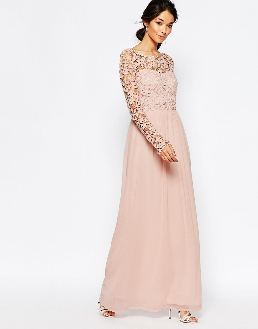 Maxi dresses long sleeve pink