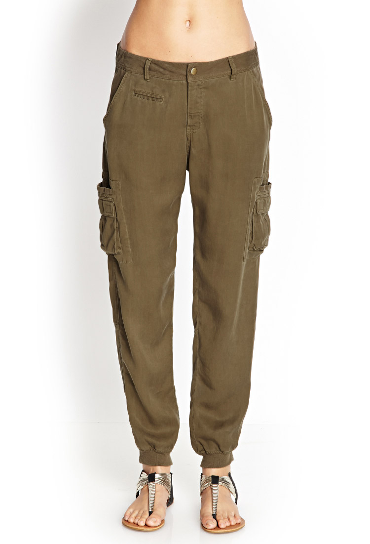 Forever 21 Contemporary Woven Utility Pants In Green Lyst