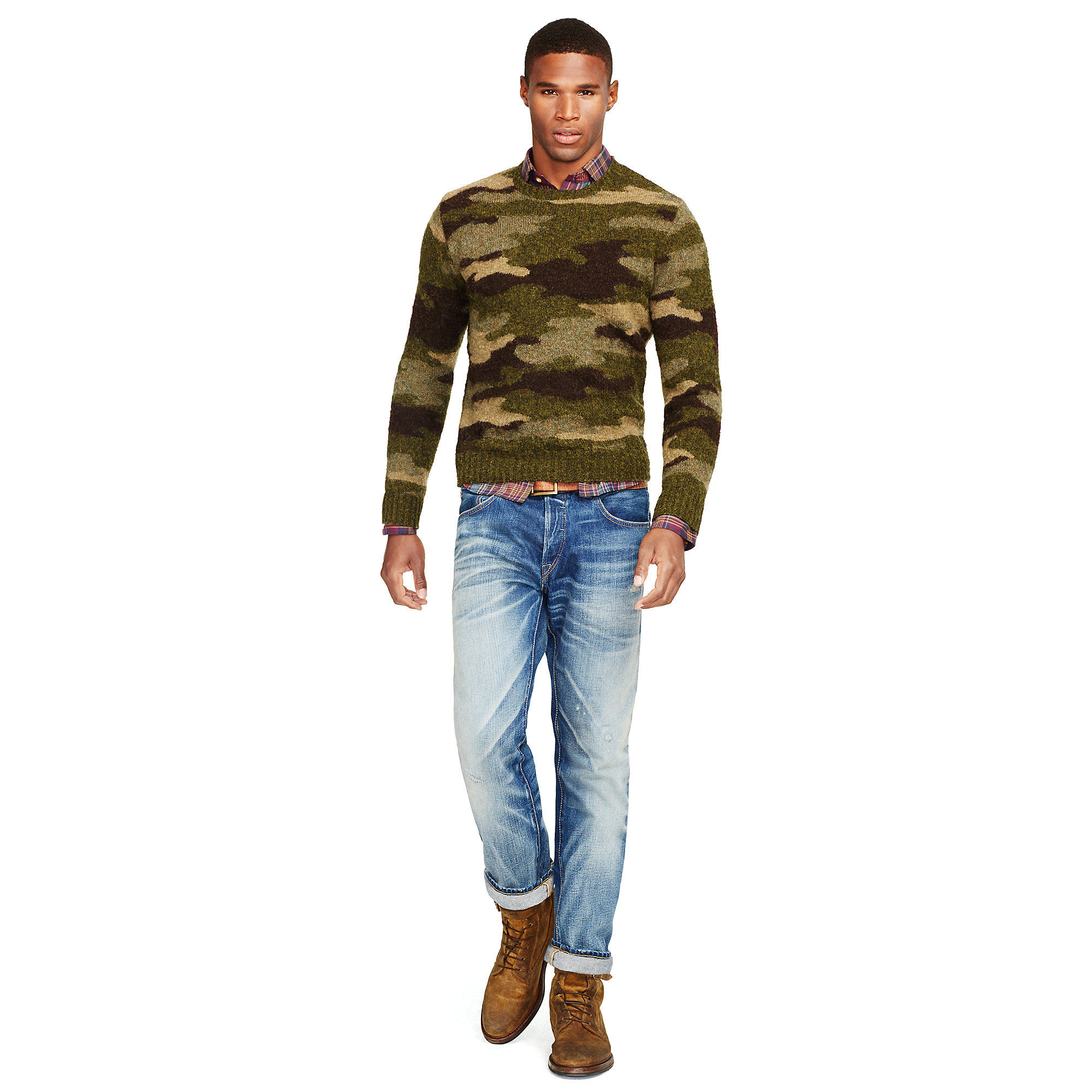 Polo Ralph Lauren. Multicolor Camo Wool Crewneck Sweater