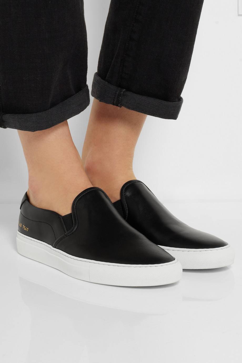Lyst Common Projects Leather Slip On Sneakers In Black