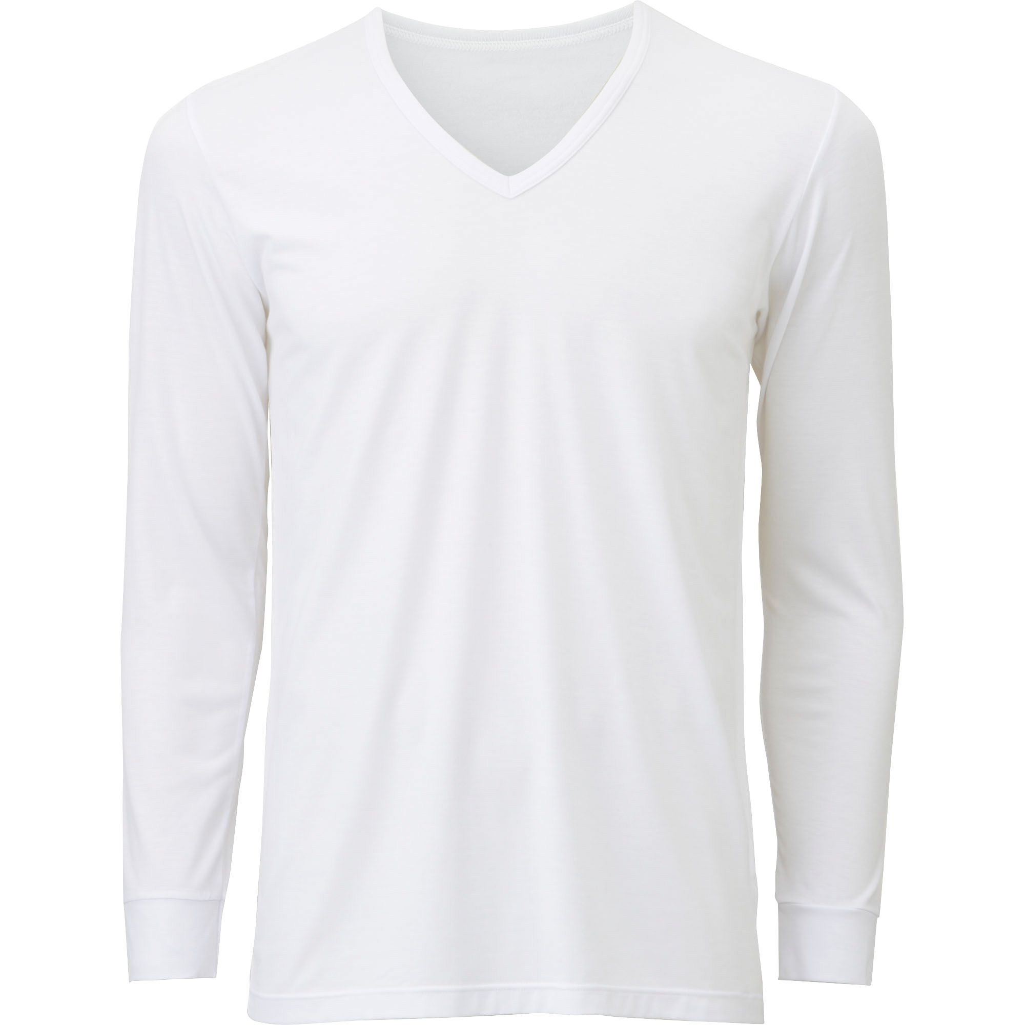 Uniqlo Men Heattech V Neck T Shirt Long Sleeve In White