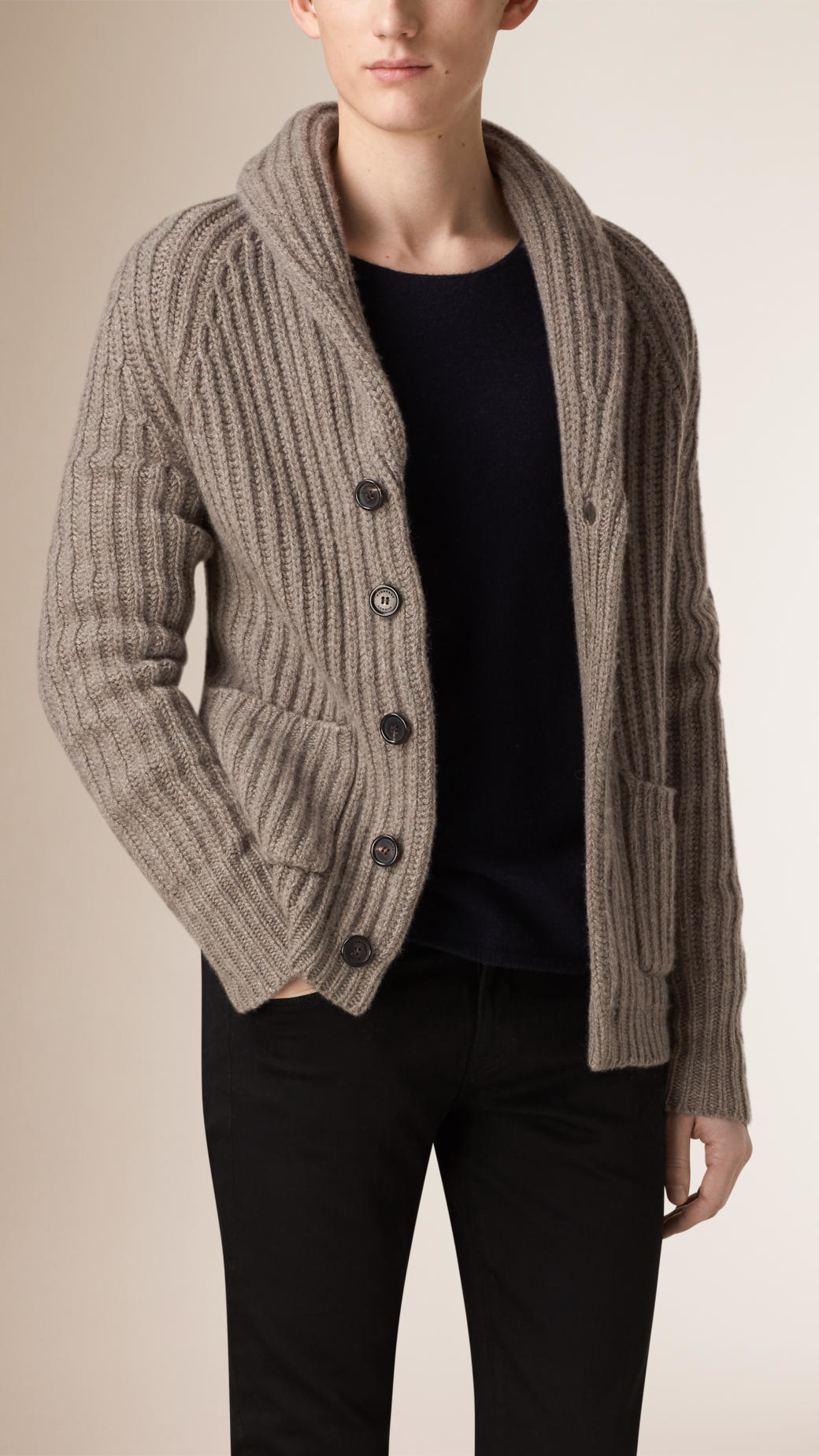Lyst Burberry Shawl Collar Wool Cashmere Cardigan In