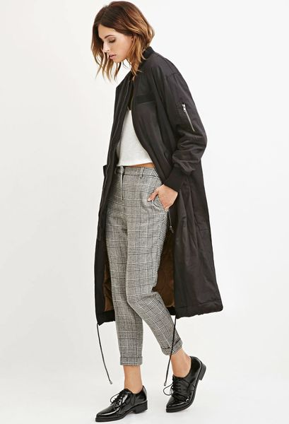 Forever 21 Contemporary Longline Drawstring Bomber Jacket