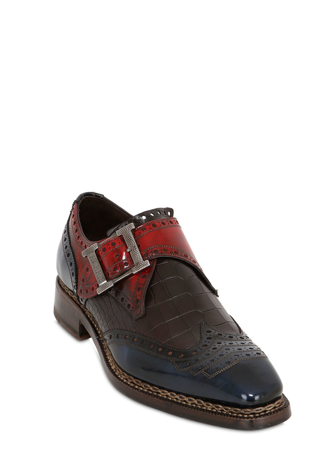 Lyst Harris Croc Embossed Leather Monk Strap Shoes In