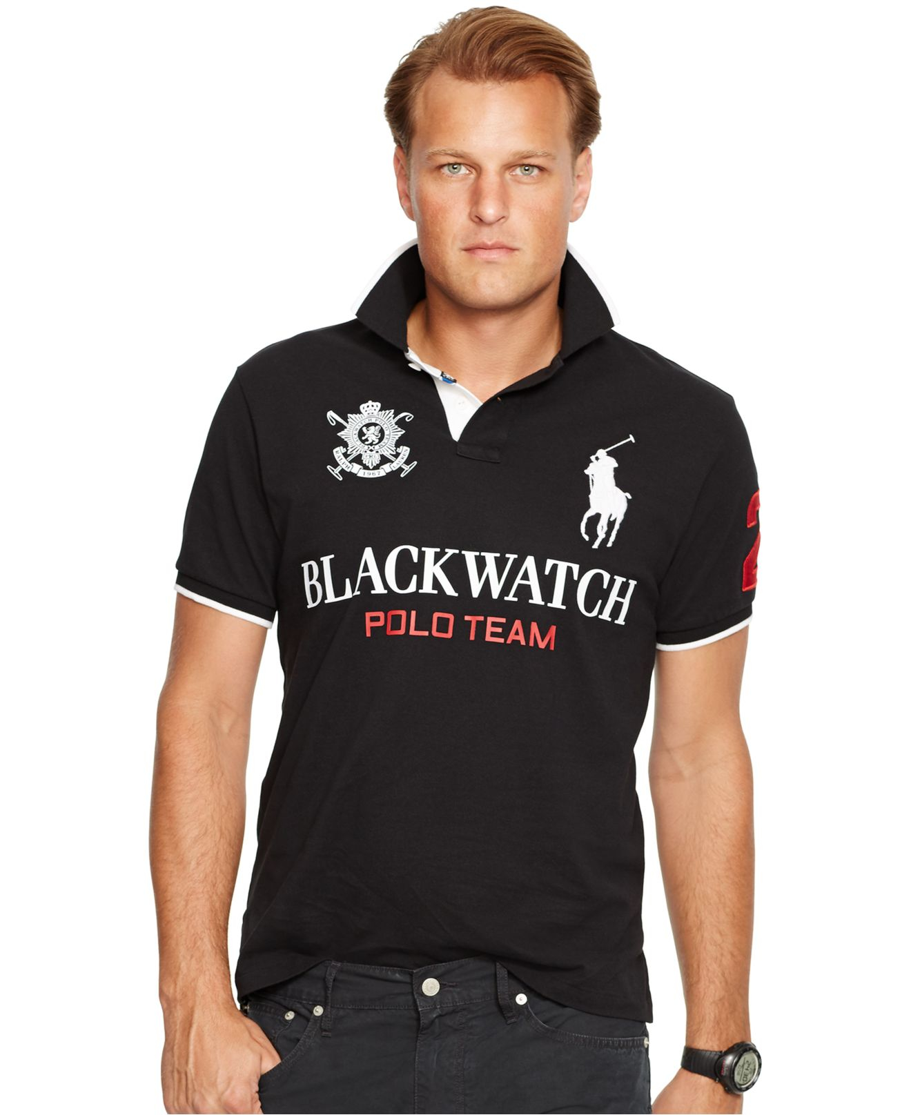 Polo ralph lauren big tall black watch classic fit polo for Black fitted polo shirt