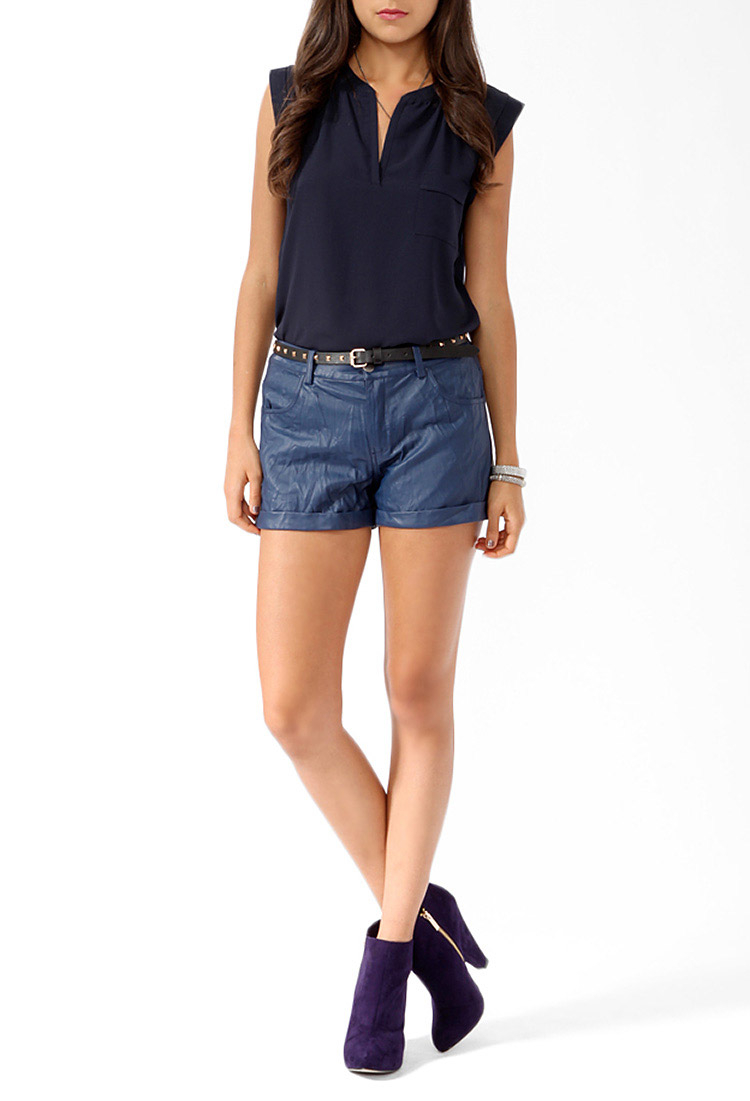 Forever 21 Cuffed Faux Leather Shorts in Blue | Lyst
