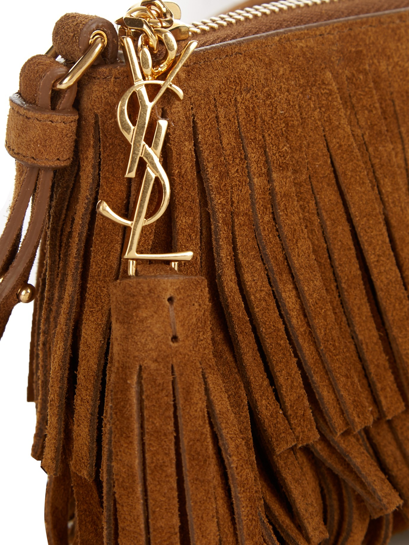 ysl black leather handbag - Small Monogram Saint Laurent Fringed Crossbody Bag In Brown Suede ...