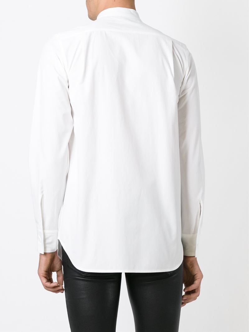 Lyst ann demeulemeester band collar shirt in white for men for Mens big and tall banded collar shirts