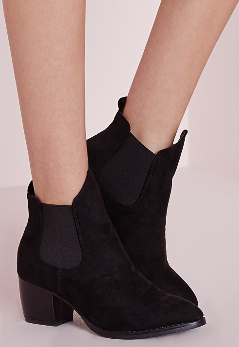 Missguided Low Heel Chelsea Boots Black in Black | Lyst