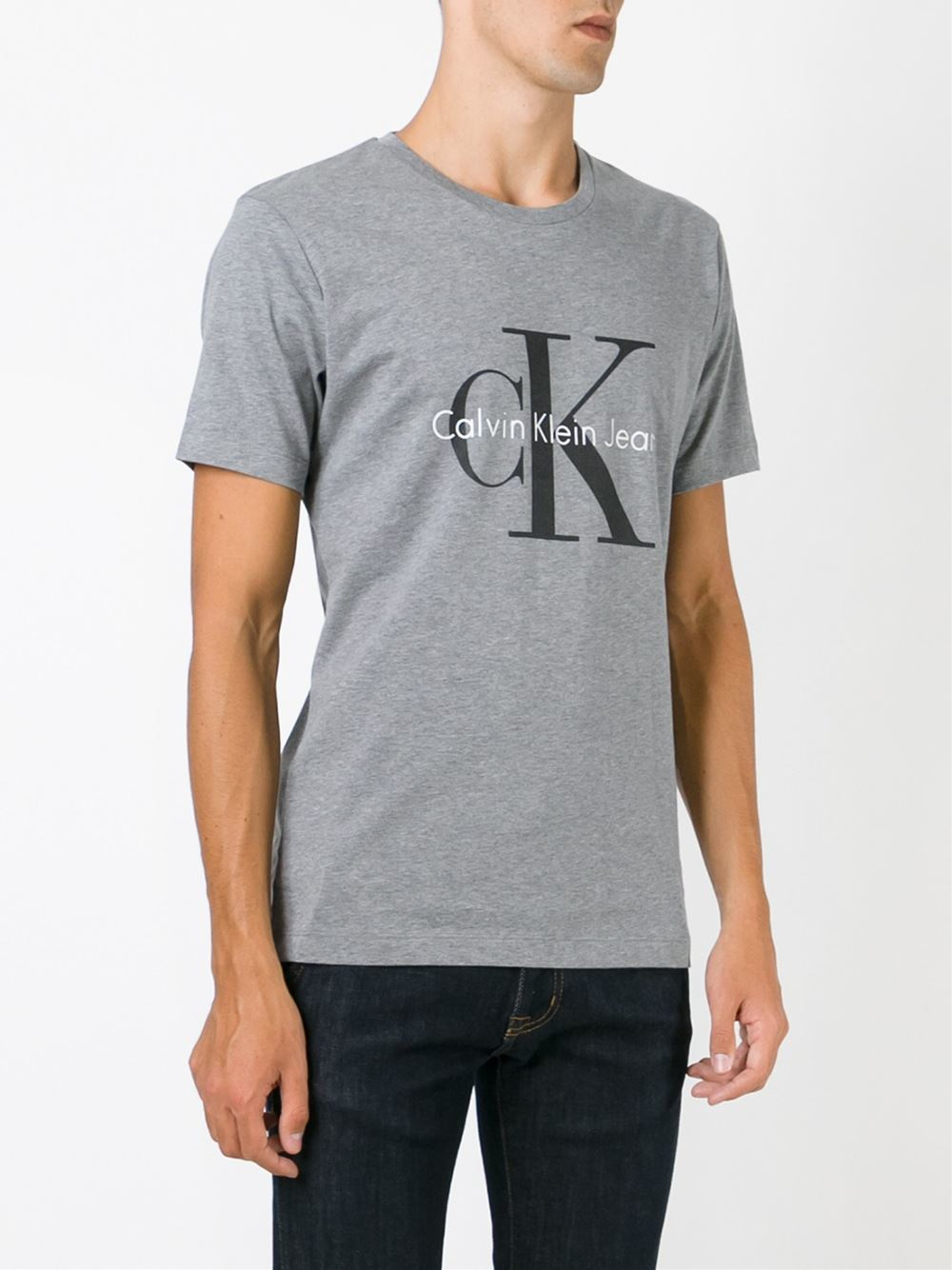 calvin klein jeans logo print t shirt in gray for men grey lyst. Black Bedroom Furniture Sets. Home Design Ideas