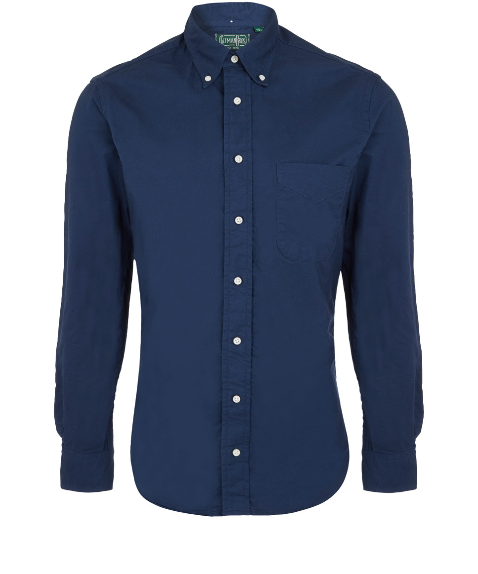 Gitman Vintage Navy Overdyed Oxford Cotton Shirt In Blue