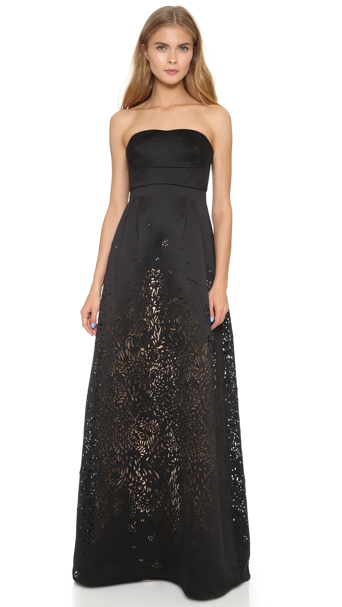 Notte by marchesa Satin Strapless Gown - Black in Black - Lyst