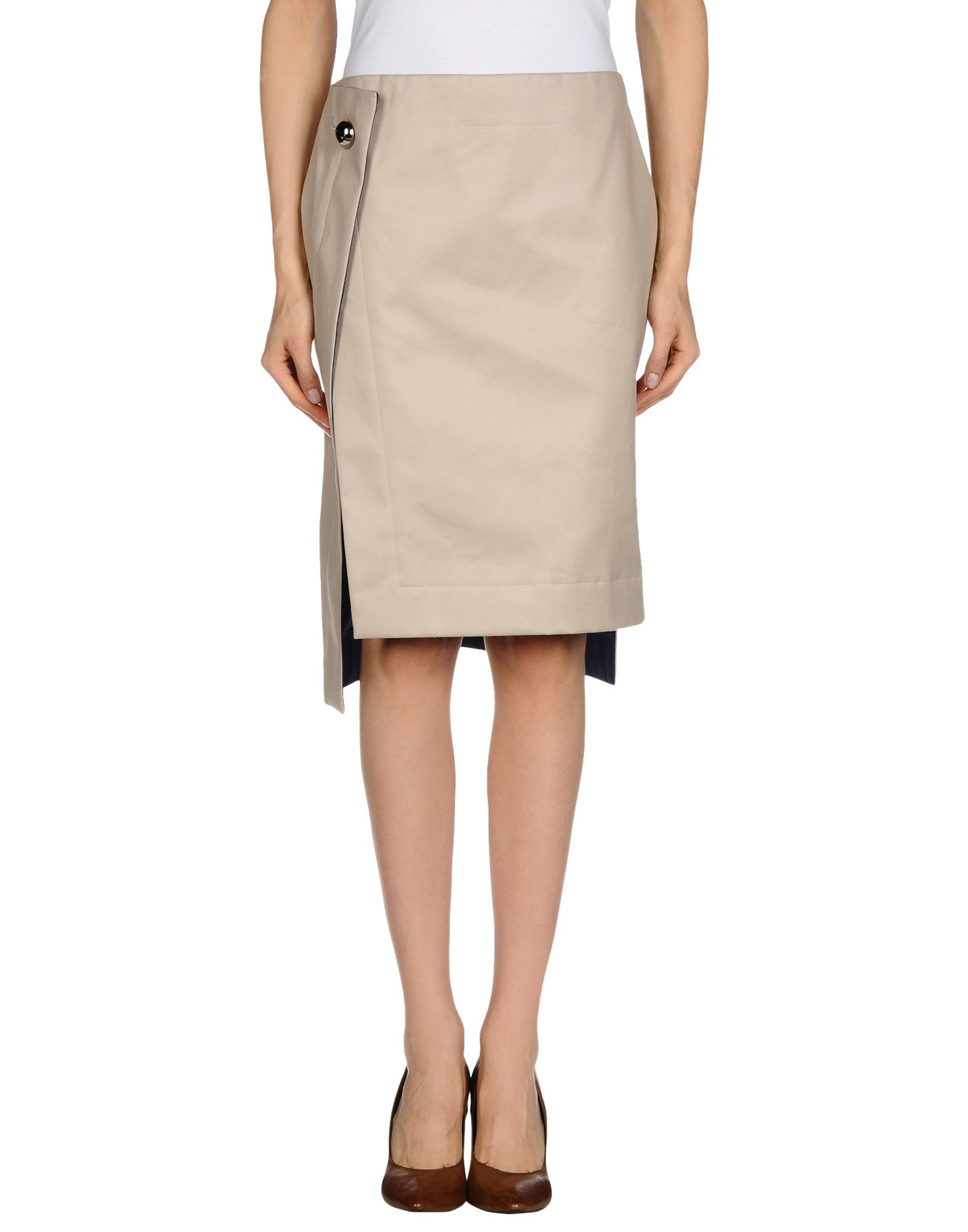atto knee length skirt in beige save 54 lyst