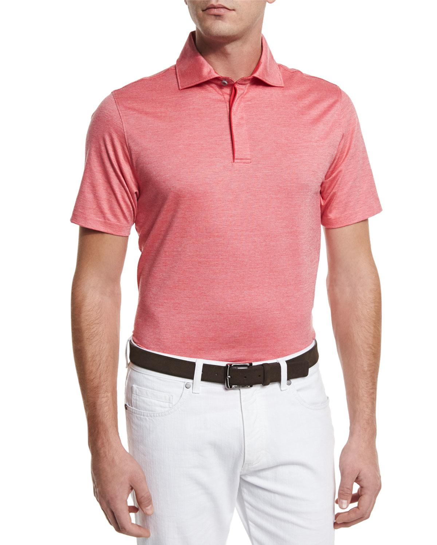 Ermenegildo zegna stretch cotton polo shirt in red for men for Stretch polo shirt mens
