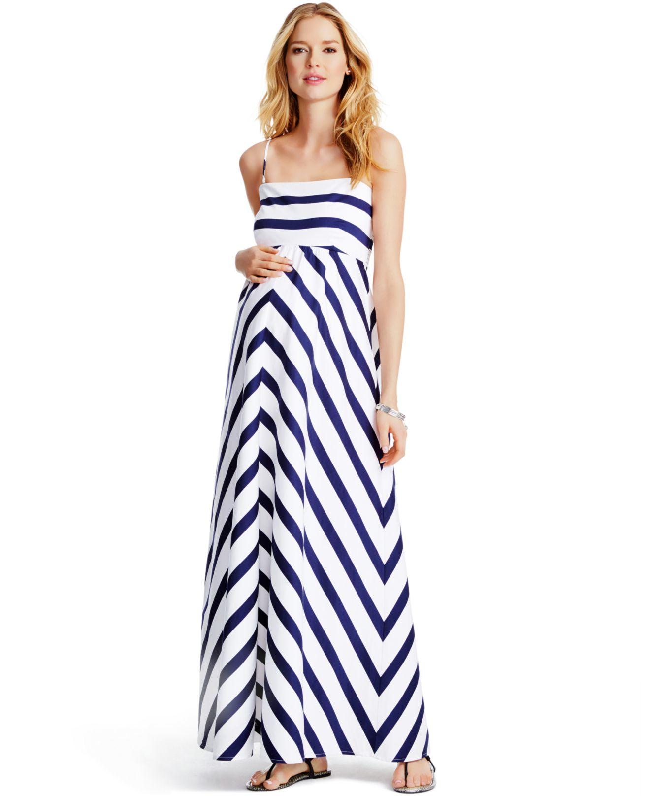 5a8d640e953 Jessica Simpson Maternity Striped Maxi Dress in White - Lyst