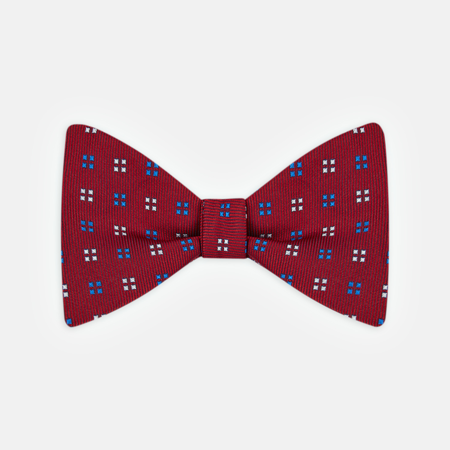 turnbull asser mini squares and blue silk bow tie in
