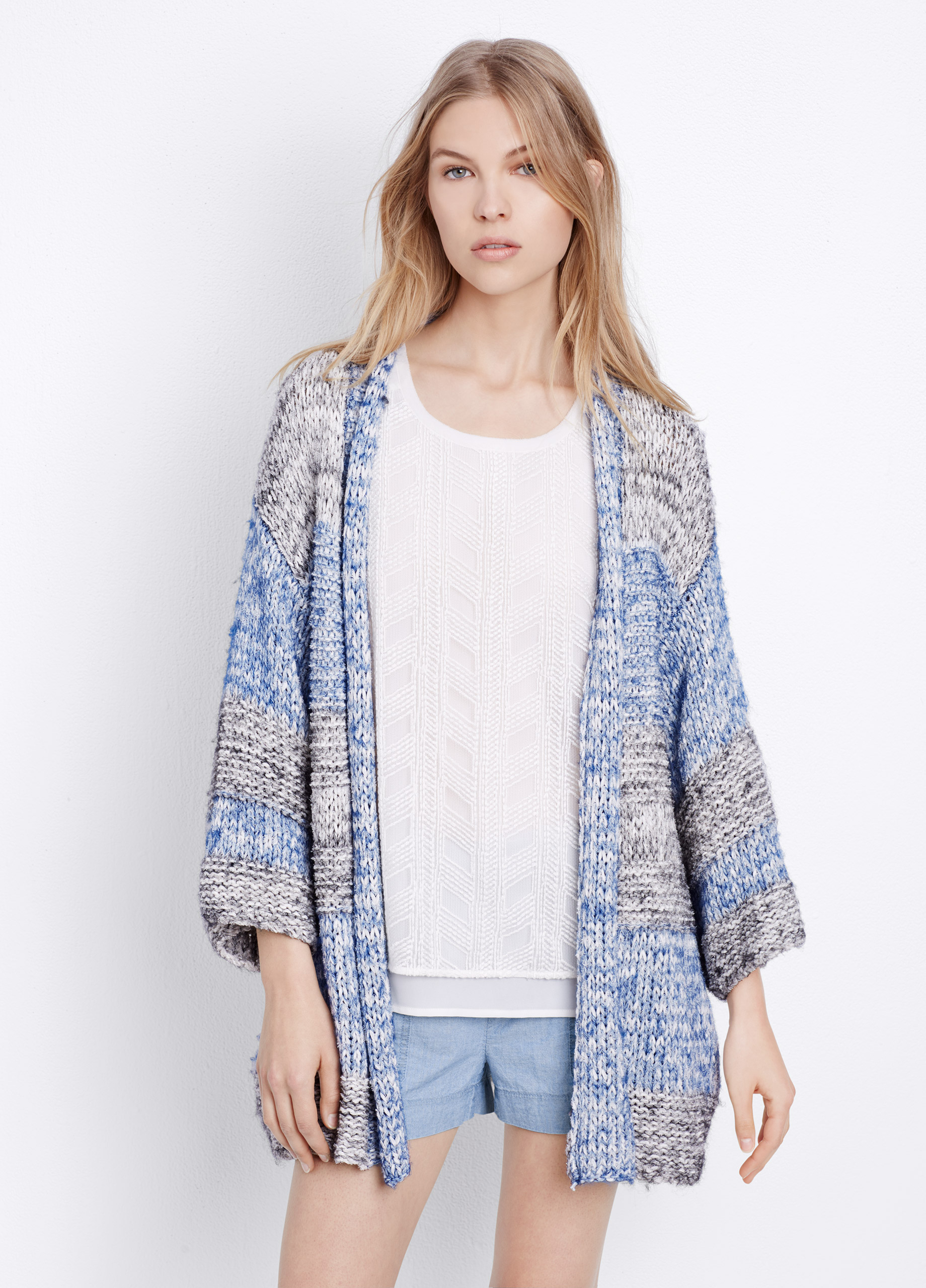 Vince Chunky Knit Striped Short Sleeve Cardigan in Blue | Lyst