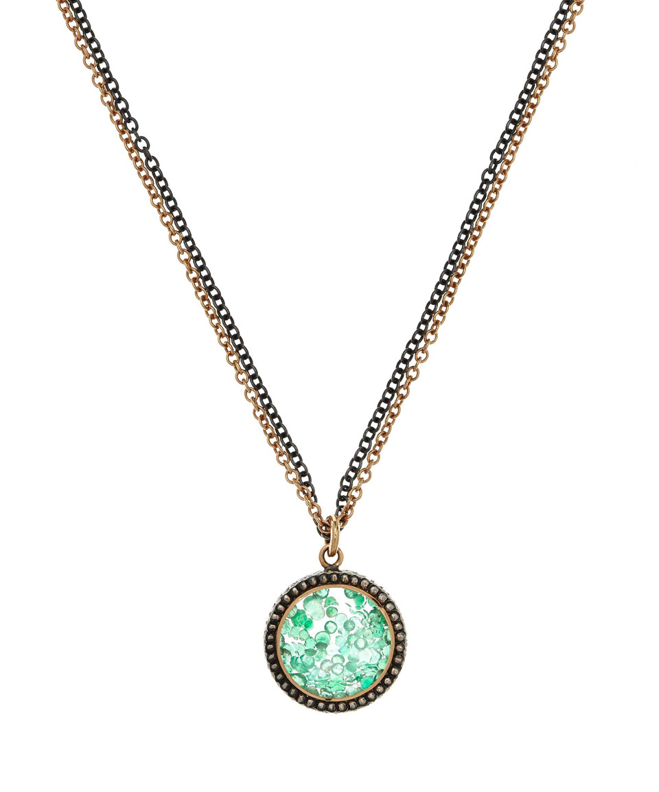 Lyst moritz glik emerald and white sapphire necklace in green gallery aloadofball Image collections