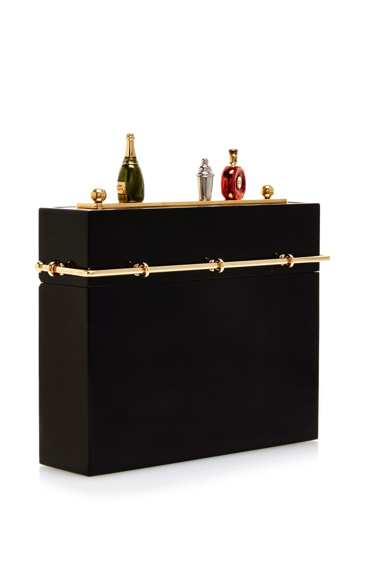 charlotte olympia cocktail hour clutch in black lyst. Black Bedroom Furniture Sets. Home Design Ideas