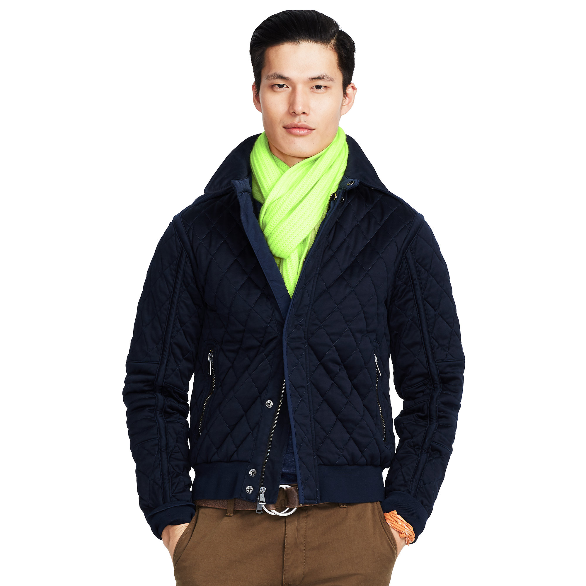 polo ralph lauren quilted cotton jacket in blue for men lyst. Black Bedroom Furniture Sets. Home Design Ideas