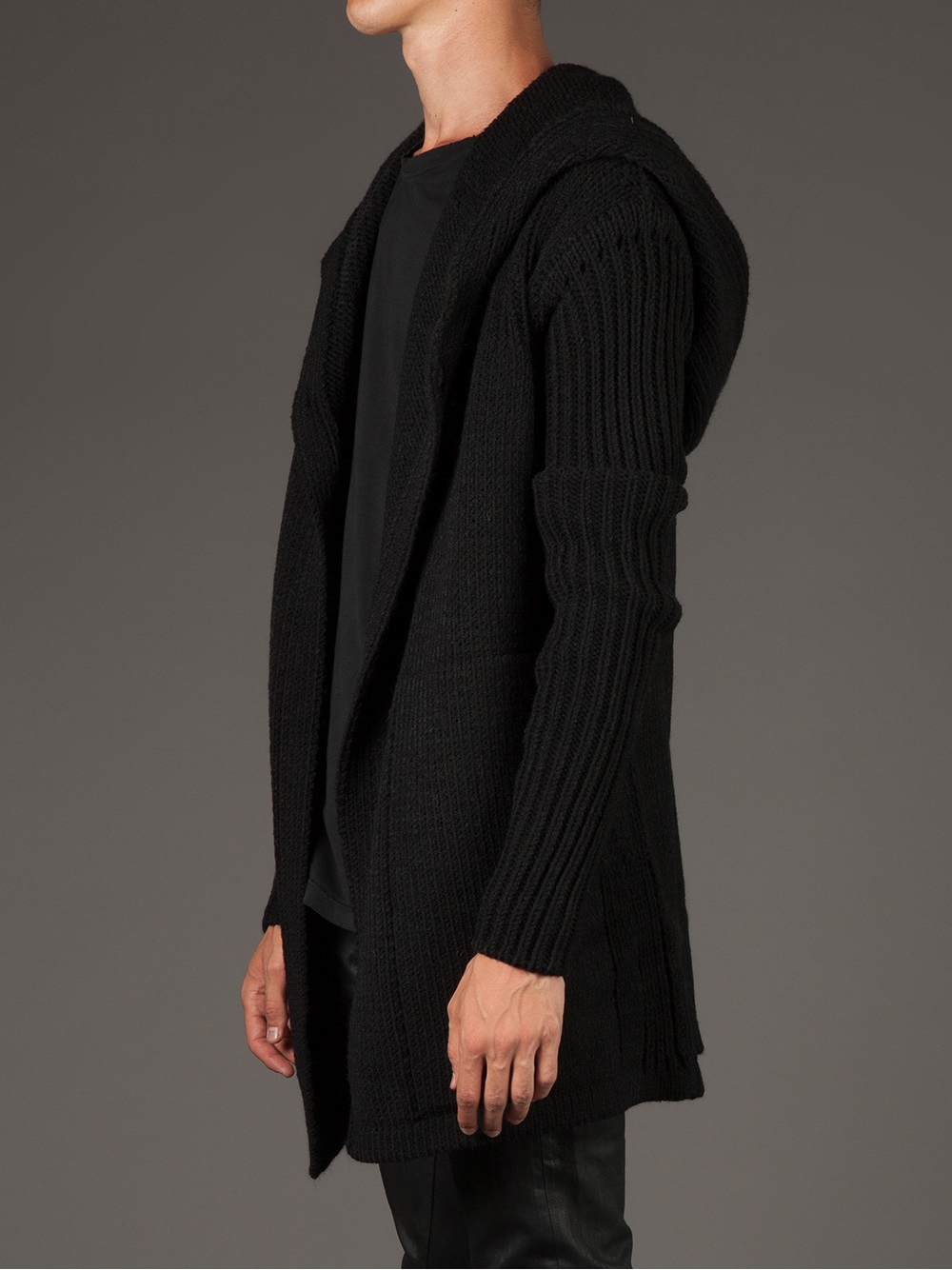 Rick owens Hooded Cardigan in Black for Men | Lyst