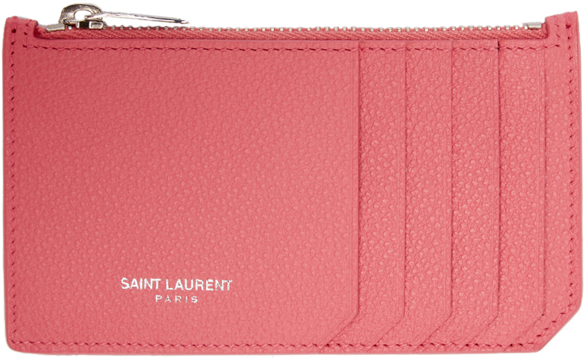 96e7d65805e Saint Laurent Pink Leather Zippered Fragments Cardholder in Pink - Lyst