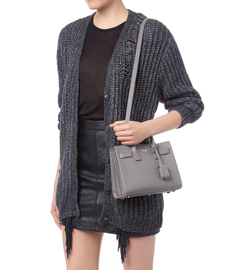 6e8b8d26cc Saint Laurent Sac De Jour Nano Leather Satchel Bag in Gray - Lyst
