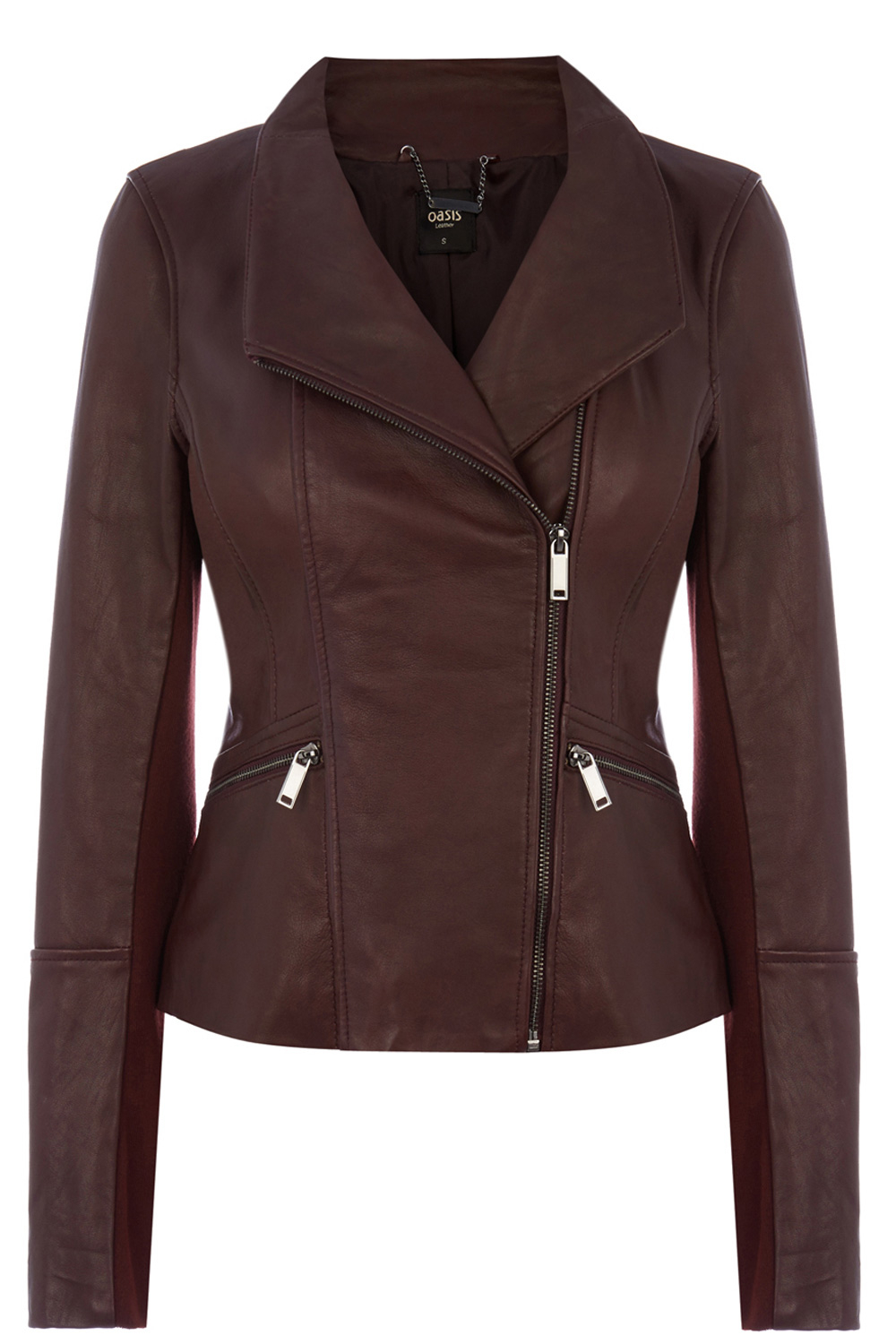 Oasis Drape Leather Jacket In Purple Lyst