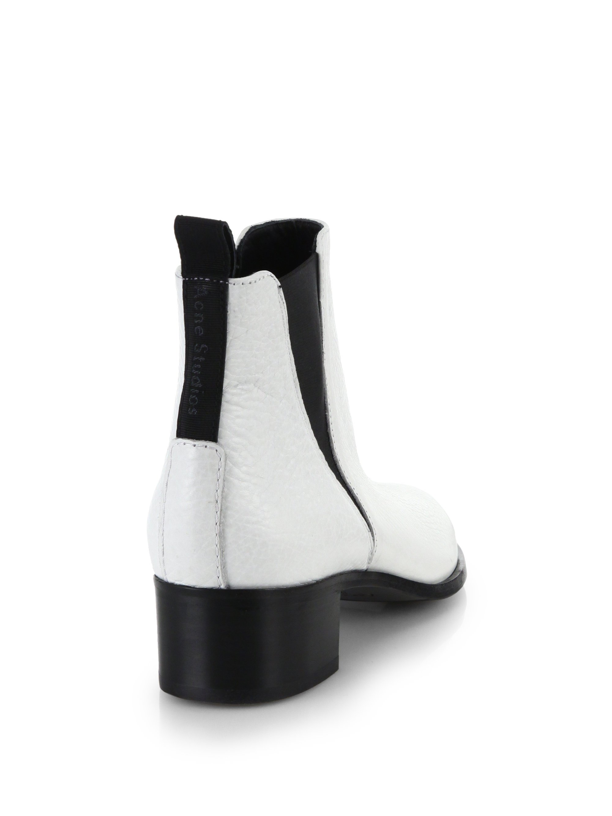 e009b91cc35 Lyst - Acne Studios Jensen Contrast Pebbled Leather Ankle Boots in ...