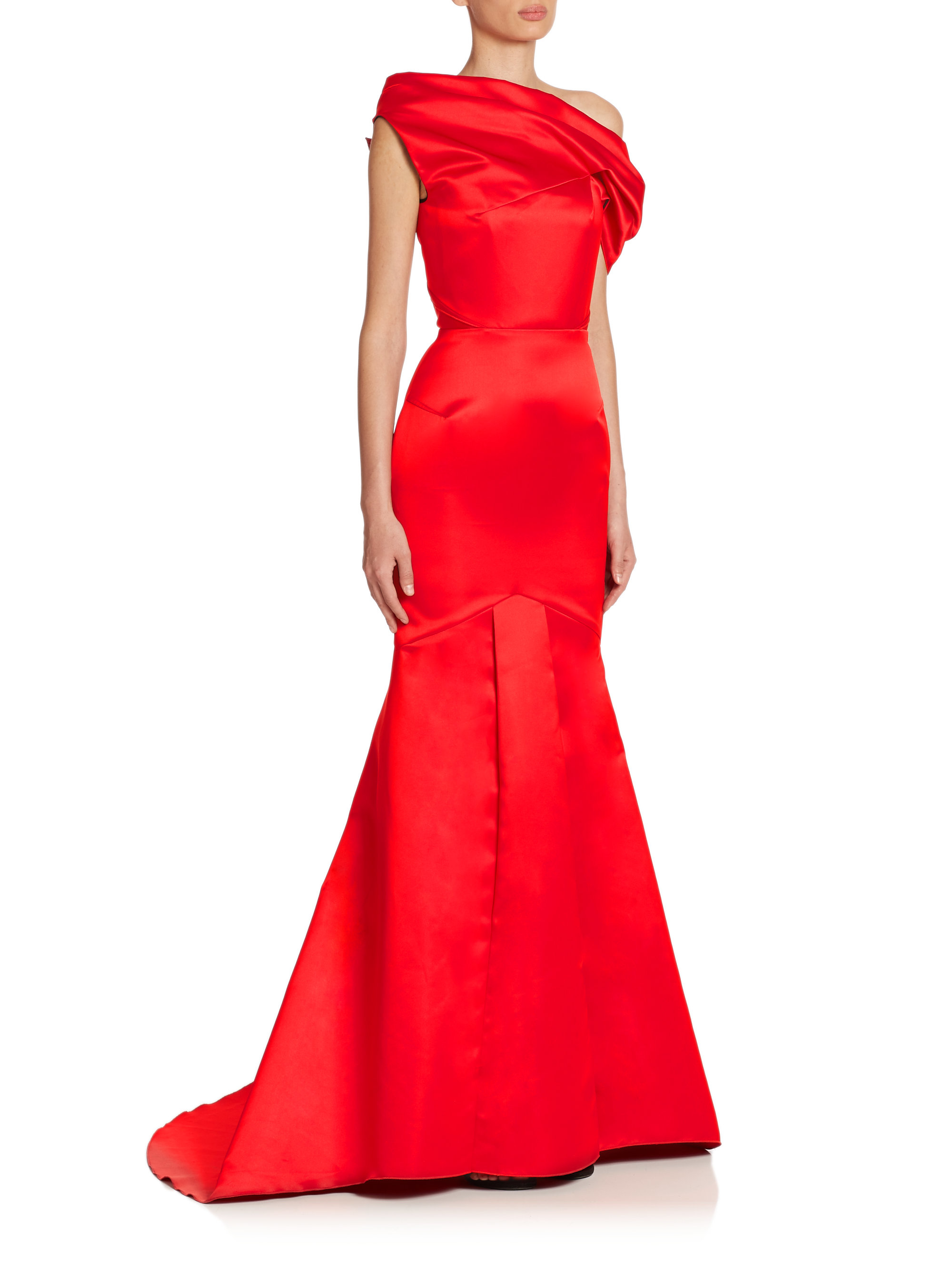 iPhone designer iphone cases : Roland mouret Seneca Satin Off-shoulder Gown in Red : Lyst