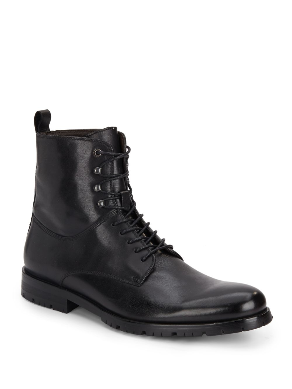 Saks Fifth Avenue Rinaldo Leather Lace Up Boots In Black
